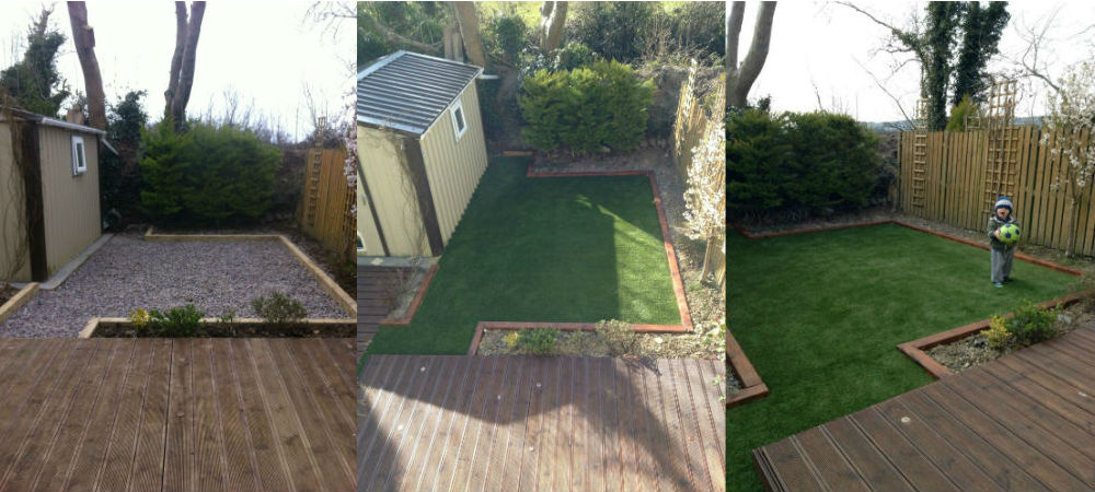 artificial grass garden before and after