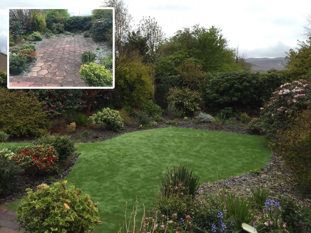 PST Lawns artificial grass lawn - before and after