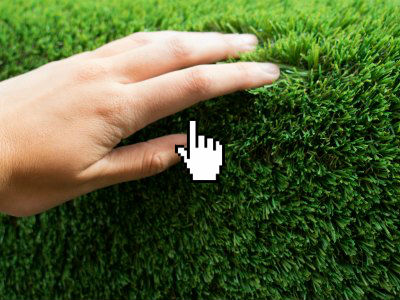 Fresh cut artificial garden grass for lawns