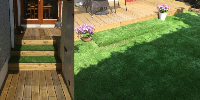 can artificial grass be installed on decking or paving. Black Bedroom Furniture Sets. Home Design Ideas