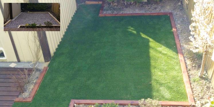Artificial grass over gravel