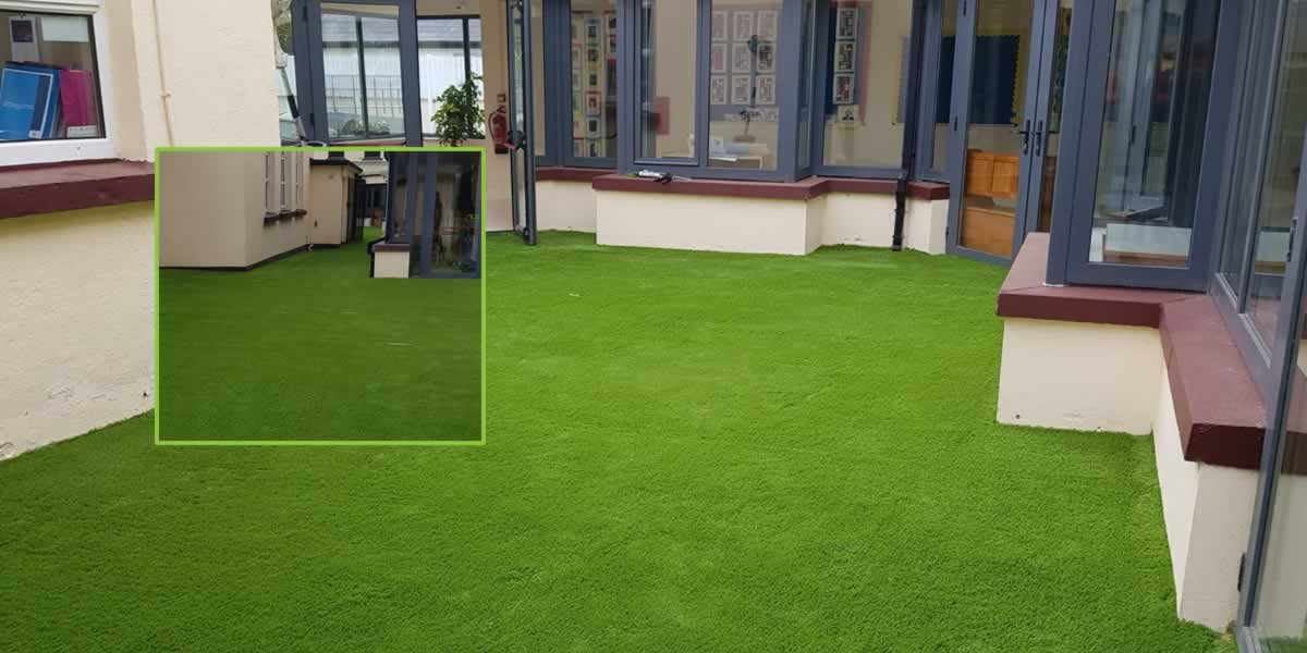 artificial grass kids play area at Athea Primary School
