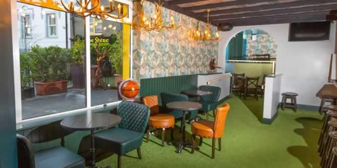 Artificial grass carpet at The Shire Bar