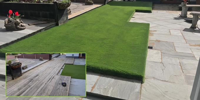 Artificial grass over decking