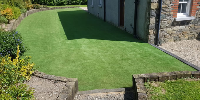 artificial grass installation project in Monaghan